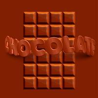 3D-realistische chocoladereep met 3D 'CHOCOLADE'-tekst, vector