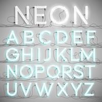 Alfabeto de néon realista com fios (on), vetor