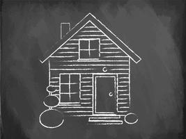 Realistic house being drawn on a chalkboard, vector