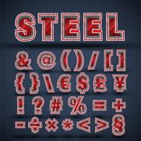3D red steel font set, vector