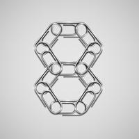 Linked paperclips forming a character, vector