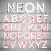 Realistisk neon alfabet med ledningar (ON), vektor