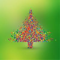 Christmas tree made by colorful dots, vector