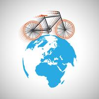 Bicycle around the globe, vector