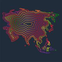 Colorful Asia made by strokes, vector