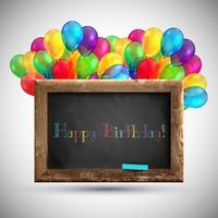 Blackboard with colorful balloons, vector