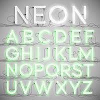 Realistic neon alphabet with wires (ON), vector