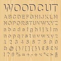Woodcut font set with symbols and numbers, vector