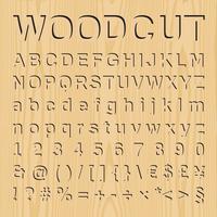 Houtdruk lettertype set met symbolen en cijfers, vector