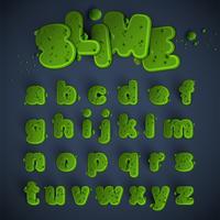 Green slime font set, vector