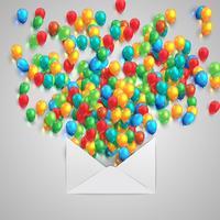 Un sobre con globos de colores, vector