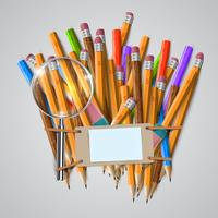 Office or school stuffs and items on white background, vector