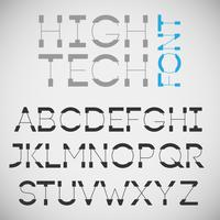 High tech font, vector