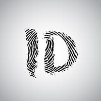 Fingerprint illustration with 'ID', vector