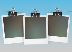 Three blank picture frames hanging, vector