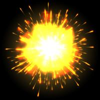 Powerful explosion on black background, vector