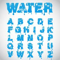 """Water"" font made from flow font, vector"