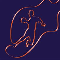 Colorful ribbon shapes a handball player, vector