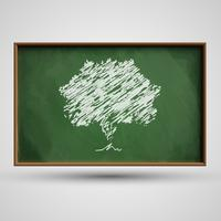 Blackboard with a tree, vector