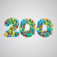 Nummer gjord av färgglada ballonger, vektor