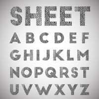 Sheet, texturized font, vector