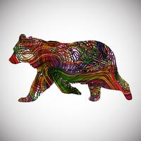 Colorful bear made by lines, vector illustration