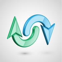 Realistische 3D-pijlen, vectorillustratie