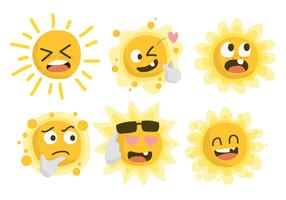 Grappige zon tekens Clipart Vector Illustratie