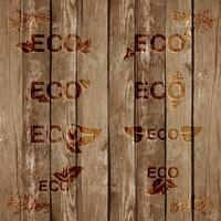 Eco signs bevels on wood, vector