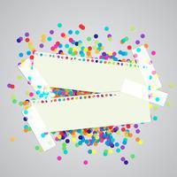 Een papieren label en kleurrijke stippen, vector