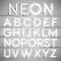 Alfabeto de neón realista con cables (ON), vector