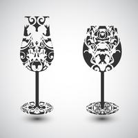 A wine glass and a champagne glass with a pattern, vector