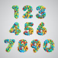 Number set made by colorful balloons, vector