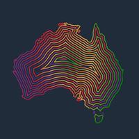 Australia colorida hecha por trazos, vector