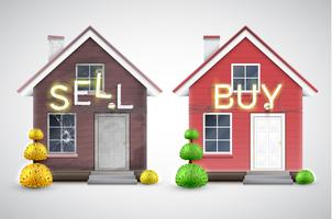 Ett gammalt hus att sälja och en ny att köpa, vektor