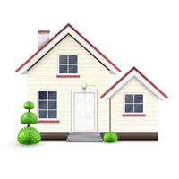 Realistic house with garage, vector