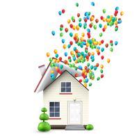 Casa realista con globos de colores, vector