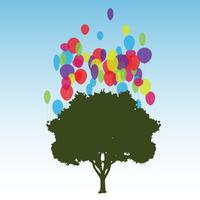 Tree and balloons, vector