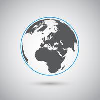Wereld vectorsymbool, plat ontwerp