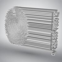 Huella digital convirtiéndose en ilustración de vector de código de barras