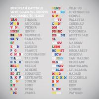 European countries capitals shorten names with the national colours, vector