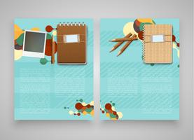 Vintage templates with computer and notebook, vector