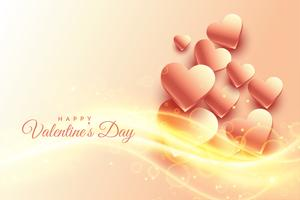 shiny beautiful hearts background with glowing wave