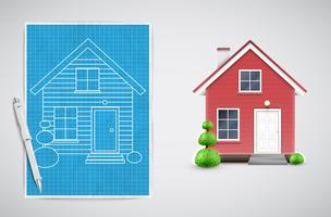 Realistic house with a blueprint, vector