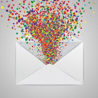 An envelope with a colorful abstract illustration, vector