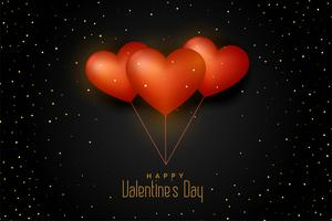 balloon hearts on black background with golden glitter