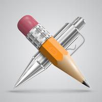 Colorful realistic pen and pencil, vector