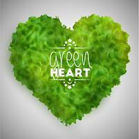 Green leaves heart, vector