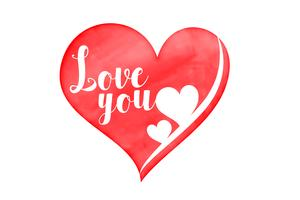 watercolor heart with love you message