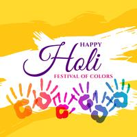happy holi celebration poster with colorful hands